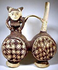Pre-Columbian CHANCAY DOUBLE DRUM FIGURAL VESSEL PERU COA
