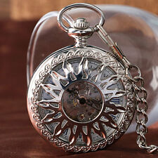 Luxury Carving Hollow Sun Roman Numerals Automatic Mechanical Pocket Watch Chain