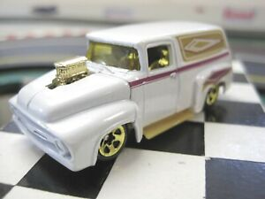 HOT WHEELS 1;64, 56' FORD PANEL, WHITE PEARL W/GRAPHICS, W/GOLD RIMS