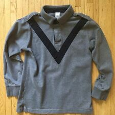 Gymboree Boys Long Sleeve 2 Button Rugby with Epaulets. Sz 10 Grey/Navy $34.99
