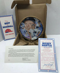 "Mickey Mantle 1993 Sports Impressions  6 1/2"" Plate w/ 23K Gold Border w/ COA"