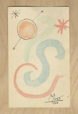 JOAN MIRO ORIGINAL 1966 PEN & WATER COLOR WITH FINGER PRINT