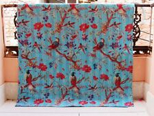 Kantha Quilt Blanket Indian Cotton Handmade Antique Gudari Twin Size Bird Blue