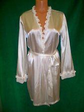 Linea Donatella sexy vanilla cream short belted robe sz S/M ruffle detail NICE