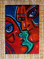 ACEO original pastel painting outsider folk art brut #010374 abstract surreal