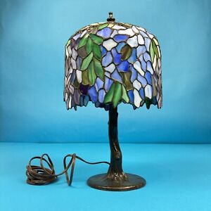 "Beautiful 16in ""WISTERIA"" STAINED GLASS TIFFANY STYLE LAMP - Works Perfect"
