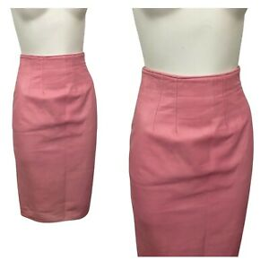 1980s Pink Leather Skirt / 80s High Waist Fitted Pencil Skirt Soft Leather / XS
