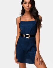 MOTEL ROCKS Datista Slip Dress in Satin Cheetah Navy S Small (mr36.2)