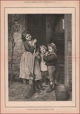 Boy Playing his New Flute by Barnes, antique engraving, print, original 1891