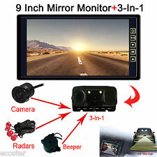 "9""Car Reverse Rearview Mirror Display Monitor+3-in-1 Camera &Radar Sensor&Beeper"