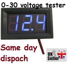 DC 0-30V Alambre LED 3-Pantalla Digital Voltaje Voltímetro Panel precisa Azul UK