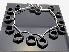 Vintage Black Onyx Faceted Round Graduated Open Ring Shape 15 Gemstone Beads