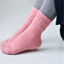 Women Pink Wool Cashmere Winter Warm Soft Solid Casual Sports Socks Christmas