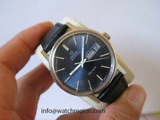 OMEGA GENEVE AUTOMATIC QUICK SET DAY DATE WATCH EUORPEAN MODEL BLUE DIAL 35MM