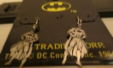 Vintage Licensed DC Comics Batman Full Dangling Sterling Silver Earrings MOC #1