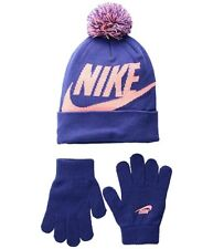 NIKE Kids' Swoosh 7/16 Pom Beanie Hat and Gloves Set Rush Violet