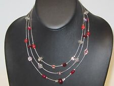 Silvertone Beads Necklace 5781B Fashion Multi Strand Red Clear
