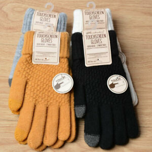 Unisex Winter Touch Screen Gloves Warm Crochet Knitted Wool Full Finger Mittens