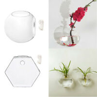 4pcs Wall Mounted Hanging Glass Flower Vase Terrariums Hexagon Plant Holders