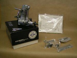 NEW O.S. FS-120 4-stroke engine, tools, paperwork, muffler...MINT New