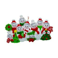 PERSONALIZED Cozy Snowman Family of 8 Christmas Tree Ornament 2019 Holiday Gift