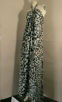 Ted Baker Full Length Dress Bandeau Halter Neck Abstract Print Pure 100% Silk