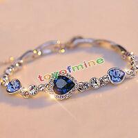 Femmes Bleu Océan Cristal Bracelet strass Bracelet Cadeau Cadeau Nouvelle Mode