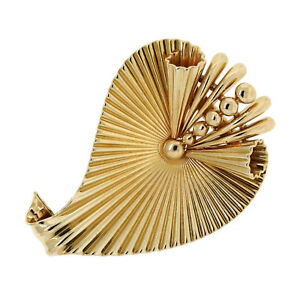 Cartier 14K Yellow Gold Art Deco Ribbed Leaf Clip/Pin/Brooch
