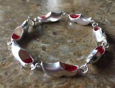 """Vintage 835 Sterling Silver With Red Enamel Dutch Clog Bracelet. 7"""""""