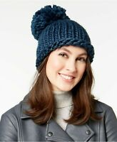 BCBGeneration Womens One Size Everyday Basic Pom Beanie Hat Cableknit Blue NEW