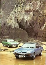 Opel Manta B 1977-78 UK Market Sales Brochure 1.6 De Luxe 1.9 Berlinetta
