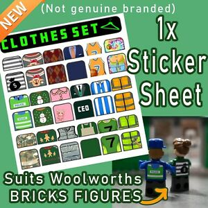 1x Sticker Sheet CLOTHES SET to SUIT Woolworths BRICKS FIGURES Free Postage rare
