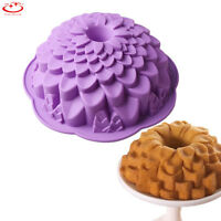 Big Chrysanthemum Flower Bundt Cake Pan Bread Chocolate Bakeware Silicone Mold