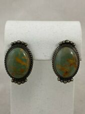 Vintage signed Navajo turquoise sterling silver earrings RP