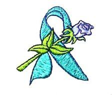 Teal Ribbon Hoodie M Lilac Rose White Sweatshirt Cancer Awareness Unisex New