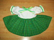 """St Patrick'S Day Green Irish Plaid Shamrock Dress for 16-18"""" Cpk Cabbage Patch"""