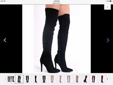 🌺 Glossy Thigh Hight Stiletto Suede Boots BLACK-UK 3 AUS 6 🌺