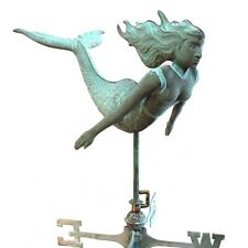 Mermaid Solid Copper Weather Vane Old Fashioned Shore Beach Tiffany Green