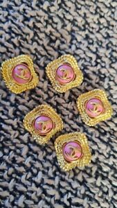 100%👚 Auth 5 pc CHANEL GOLD tone PINK 16mm  Replacement Buttons🌸 👗