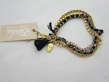 Ettika Braided Bracelet - Black & Gold, Skull, Rhinestones, New with Tag