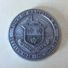 Rare Vintage TOWN OF HAMPTON, NH 1988 Pewter 350th Anniversary MEDAL Token COIN