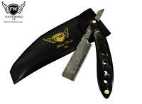 Damascus Steel Straight Razor Cut Throat Barber Salon Shaving Razor Bull Horn