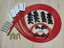 High Temp Universal Ceramic Red Taylor 8mm Spark Plug Wires Ford Hei Amp Points