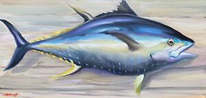 """Abbott Oil Canvas 10""""x20"""" Yellowfin Tuna Caught Fresh Out Of The Gulf Of Mexico"""
