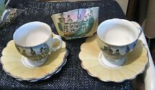 3 saucers 2 Cup and Sugar bowl decorated with image of Cardiff Castle