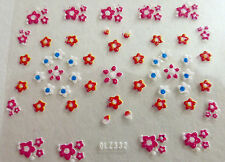 Accessoire ongles : nail art - Stickers autocollants - fleurs rose rouge blanche
