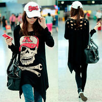 Women Loose Long Hollow Out Punk Blouse Skull Head Print Irregular T-shirt Tops