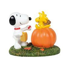 DEPARTMENT DEPT 56 VILLAGE Figurine PEANUTS SNOOPY WOODSTOCK Pumpkin Halloween