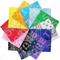 Lot Of 12 Paisley Print Scarf Bandanas 100% Cotton 1 Dozen Multi Colors 25-Color