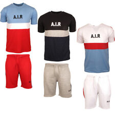 Mens AIR Short Tracksuits Set Contrast T-shirt Top Bottom Sports Pants Trousers